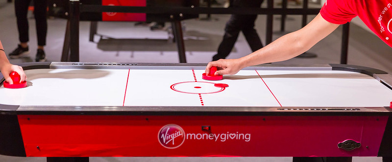 friendly air hockey competition